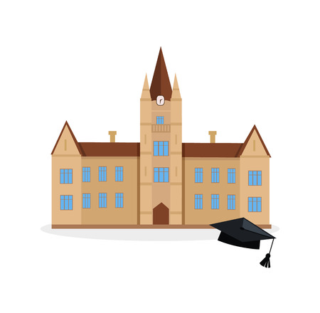 School and university or college building icon. Education student, flat campus design, graduation university. Vector illustration Ilustrace