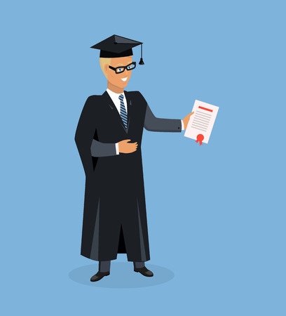 final college: Happy boy after graduation. Man university graduate. Boy graduates in the mantle isolated. Vector illustration