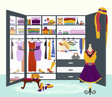 full: Clothing storage concept vector. Flat design. Womans wardrobe with mirror filled variety clothing, dresses, blouses, shirts, hats, shoes and accessories. Ladies treasures illustration.