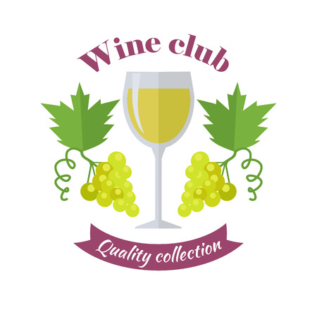 Wine club quality collection. For labels, tags, posters, banners of check elite vintage wines.  icon symbol. Winemaking concept. Part of series of viniculture production and preparation. Vector