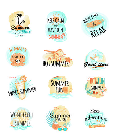 headlines: Set of summer logo icons. Summer time. Keep calm and have fun. Relax. Hot and fun summer at the sea. Wonderful summer. Party and adventure. Summer illustrations with headlines. Vector in fllat style