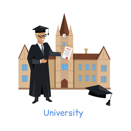 teaching stations: University building isolated on white in flat style. Modern building for students. Higher educational level. Person in mantle gown standing near by. Part of series of lifelong learning. Vector Illustration