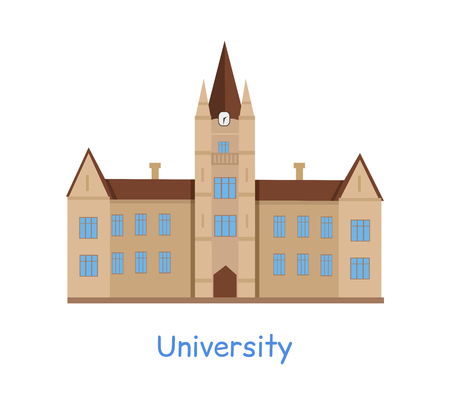 University building isolated on white in flat style. Modern building for students. Higher educational level. Educational academic establishment. Part of series of lifelong learning. Vector Illustration