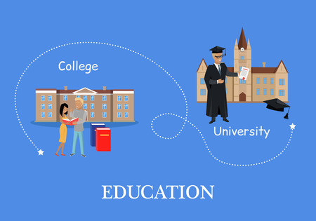 university students: Education in college and university. Buildings isolated on white in flat style. Modern buildings for students. High educational level. Part of series of lifelong learning. Vector illustration