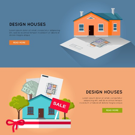 Set of real estate vector horizontal web banners. Flat style. Designing, buying and selling a new place for living. Illustration for real estate, building, engineering company web page design. Illustration