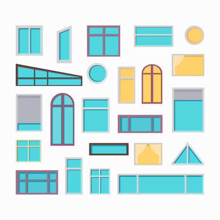 Collection of windows vector illustrations in flat style. Different types and forms of house windows. Home exterior design element.  Isolated on white background.