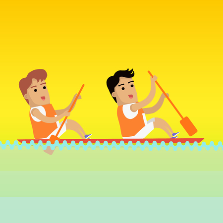 sports uniform: Canoe rowing, sports banner. Two man in orange sports uniform rowing in canoe on river. Species of event. Vector background for web, print and other projects. Summer games background. Illustration