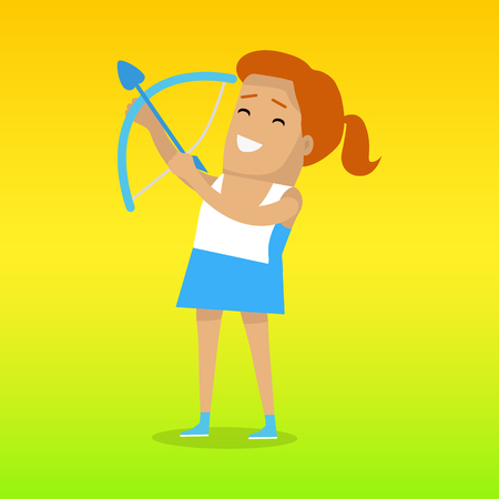 propel: Archery sport template. Summer games colorful banner. Active way of life concept. Competitions, achievements, best results. Practice or skill of using a bow to propel arrows. Vector illustration