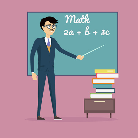 equations: Mathematics lesson concept vector. Flat design. Teacher character with pointer at blackboard with mathematical equations and stack of books below. Illustration for university, tutoring, courses ad.