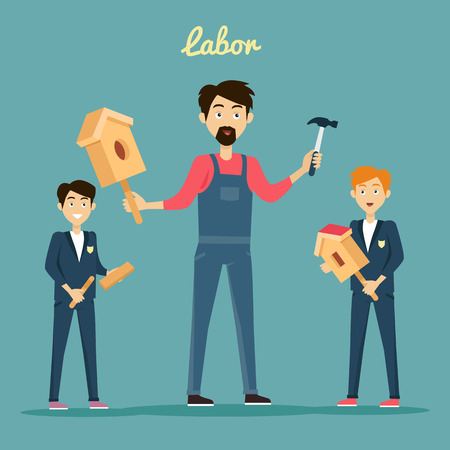 subject: Subject of labor education conceptual banner design flat style. Teacher teaches students to build a birdhouse made of wood with a hammer. Labor education work and study lesson, vector illustation Illustration