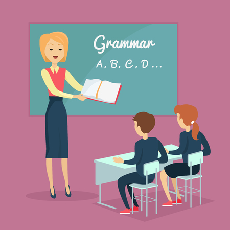 grammar school: Kids grammar teaching concept vector . Illustration in flat design. Couple of kids, boy and girl, studying grammar, sitting at their desks with the teacher in the classroom. School ABC lessons. Illustration