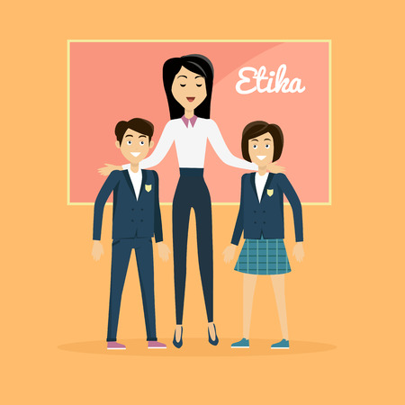 respectable: Children education ethics banner flat. Female teacher with his students, a boy and a girl. Child ethical value and teacher woman, school, successful teaching and respectable, vector illustration