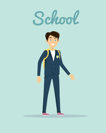 school years: School vector illustration in flat design. Smiling pupil boy in school uniform with backpack standing on white background. Children education, school years, students clothes style illustrating.