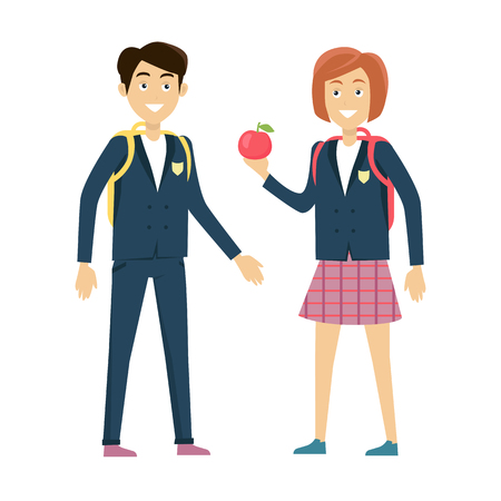 school years: School lunch concept vector. Flat design. Smiling pupils boy and girl with backpacks and apple standing on white background. Picture for child learning years, students friendship illustrating. Illustration