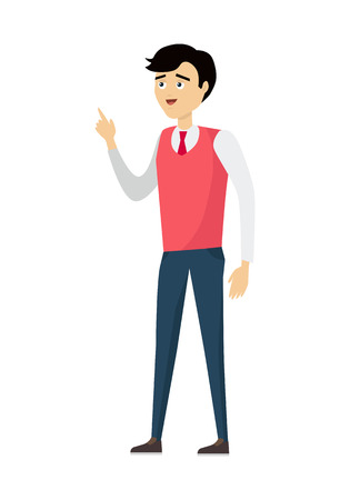 hand stand: Brunet school teacher in red pullover and blue pants. Smiling teacher with raised hand. Stand in front. Learning process. Teacher isolated character. School personage. Vector illustration
