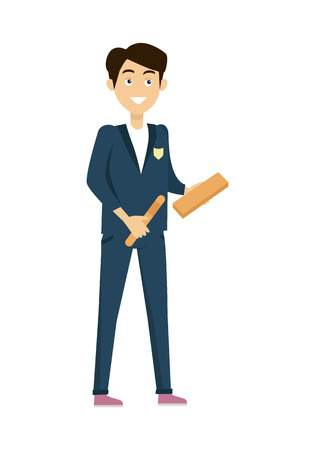 personage: Schoolboy in blue jacket and pants. Smiling boy in school uniform with school supplies. Stand in front. Schoolboy isolated character. School personage. Vector illustration. Illustration