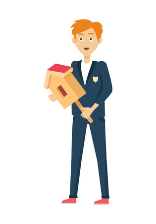 nesting box: Schoolboy in blue jacket and pants. Smiling boy in school uniform with nesting box. Stand in front. Schoolboy isolated character. School personage. Vector illustration. Illustration