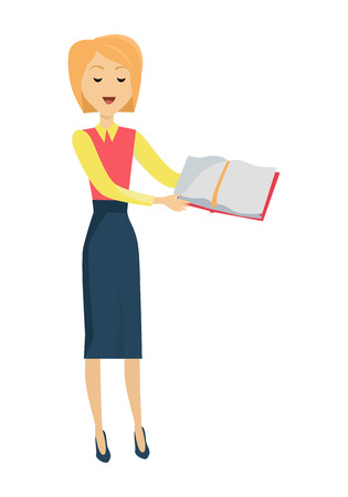 personage: Blonde school teacher in red blouse and blue skirt. Smiling teacher with textbook in hand. Stand in front. Learning process. Teacher isolated character. School personage. Vector illustration