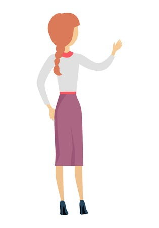 backwards: Woman character illustration in flat design. Female standing backwards with raised hand. Human pose template for taking thing from shelve, writing on desk, speaking act. Isolated on white.