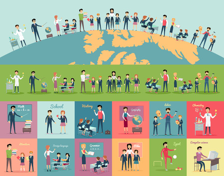 pupil's: School education in the world concept. Pupils and teachers holding hands around the globe. Set of illustrations with learning process, pupils in school uniform, teacher near blackboard, school subject
