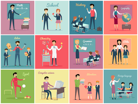profession: Teachers day. Set the teaching profession math and history, geography and labor, chemistry and grammar, etika and literature. Collection banner with people occupation flat design. Vector illustration