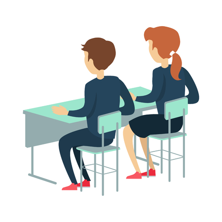 pupil's: Pupils sitting at a school desk. Studying in classroom. Smiling pupils in school uniform. Learning process. Schoolgirl and schoolboy personage. Vector illustration on white background Illustration