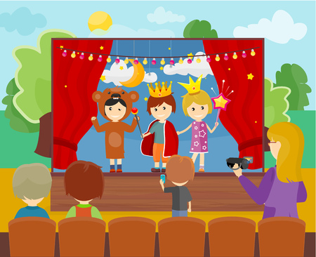 Three children in costumes performing theater play on stage. Little children dressed as a prince, princess and bear. Theatrical performance at kindergarten or school Illustration