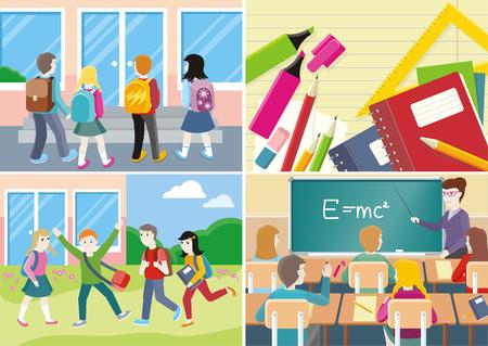 classroom supplies: Back to school banner set. Teacher near blackboard in classroom. School supplies, notebooks, pencils, pens. Group of students near the school. Learning process in classroom.