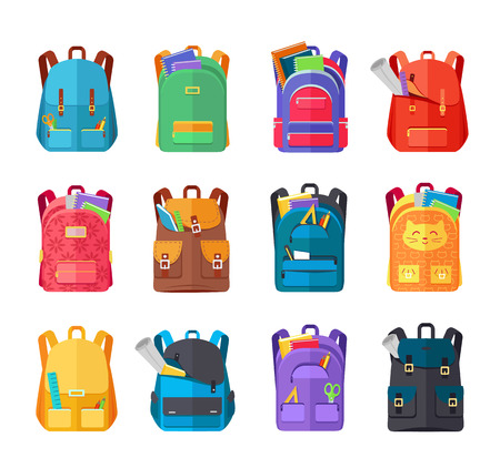 carryall: Colored school backpacks set. Backpacks with school supplies, notebooks, pencils, pens, rulers, scissors, paper. Education and study back to school, schoolbag luggage, rucksack vector illustration Illustration