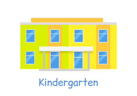 learning series: Kindergarten building isolated on white in flat style. Modern building for children. Preschool kids education. Parenthood concept. Nursery. Part of series of lifelong learning. Vector