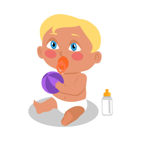 Baby sitting on the floor with a ball. New born child. Education of a child during the first year. Parenthood concept. Nursery, education at home. Part of series of lifelong learning. Vector