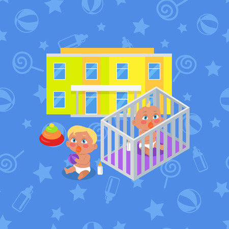 lifelong: Kindergarten building isolated. Boy and girl playing near by. Modern building for children. Preschool kids education. Parenthood concept. Nursery. Part of series of lifelong learning. Vector Illustration