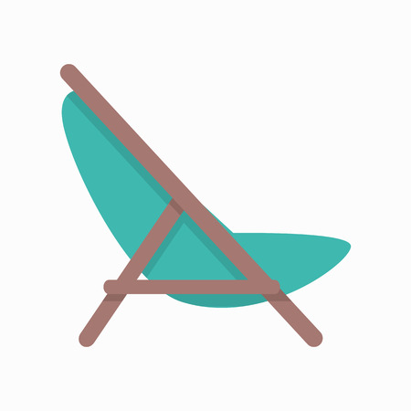 longue: Beach chaise vector illustration in flat style design. Summer vacation on seacoast concept.  Lounge icon for traveling and leisure online services, applications. Isolated on white background.