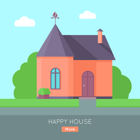 Happy house concept. Red house with purple roof. Home house in flat design style. Colorful residential hous. Home, building, house exterior, real estate, family house, modern house. Website template.