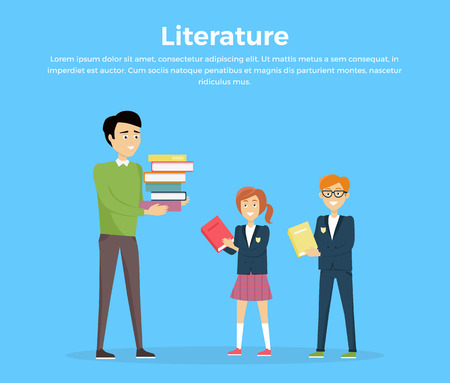 Literature reading concept. Vector in flat style. School lessons and library visiting. Teacher with pile of books and pupils with textbooks in hands standing on blue background. Illustration