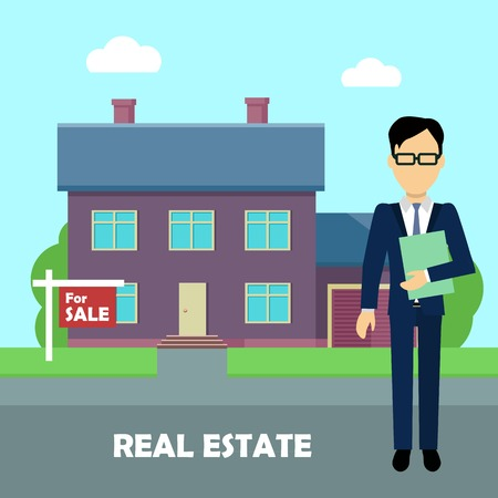 Real estate conceptual vector in flat design. Realtor with documents standing near house on sale. Buying a new place for living. Illustration for real estate company advertising, housing concepts.