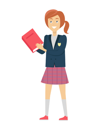 teenagers learning: Schoolgirl in blue jacket and purple skirt with book. Smiling girl in school uniform. Stand in front. Schoolgirl isolated character. School personage. Vector illustration on white background