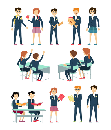 Set of school education situation. Set of illustrations with learning process, pupils in school uniform, pupils at school desk, school situation, school subject. Schoolgirl and schoolboy personage. Illustration