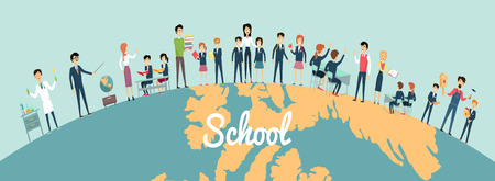 School education in the world concept. Pupils and teachers holding hands around the globe on blue background. Illustrations with learning process, pupils in school uniform, teacher near blackboard.