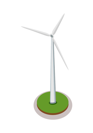 windpower: Isometric wind turbine. Wind turbine icon. Green energy industrial, wind power station element. City isometric object in flat. Isolated vector illustration on white background.