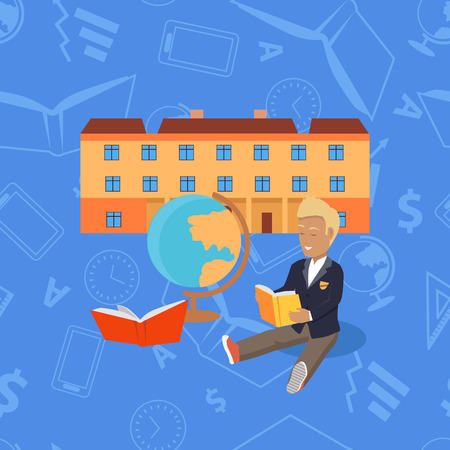 School modern building for pupils isolated on abstract background. Young boy sits in front of school and reads book. High secondary elementary level. Part of series of lifelong learning. Vector