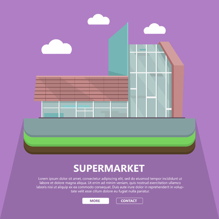 Supermarket web page template with text more and contact. Flat design. Commercial building illustration for web design, banners. Shop, shopping center, mall, supermarket, business center background Illustration