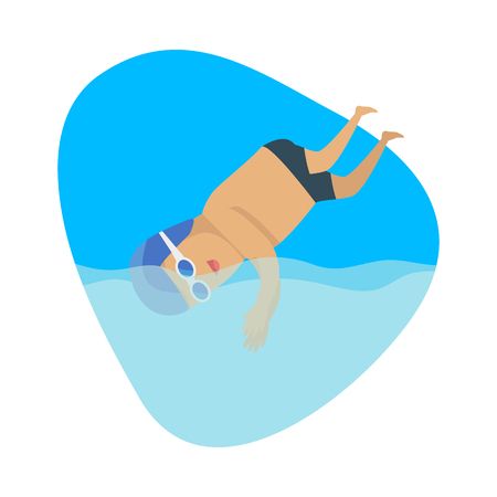 jumping into water: Diving sport template. Summer games banner. Competitions, achievements, best results. Jumping or falling into water from platform or springboard, usually while performing acrobatics. Vector