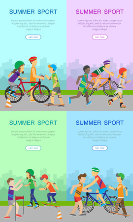 Summer sport banners set. Children going in for sport. Teenagers on playground of the city. Boy skateboarding, roller skate, guy with bike and runner. Active way of life concept. Sportive kids. Vector