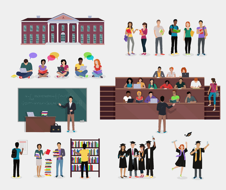 learning process: Set of Student Education. Students in audience, student in library, lecture, reading, learning process, doing homework, graduate student in graduation cap and gown, College education background