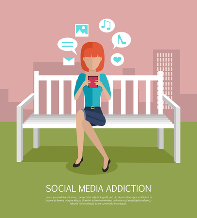 using phone: Social media addiction banner. Woman whis smartphone sitting on wooden bench in the park. Woman with dialog windows. Woman using phone. Urban cityscape with woman, park, bench, trees, blue sky, clouds