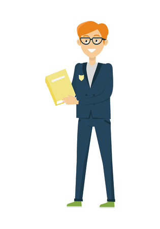 book jacket: Schoolboy in blue jacket and pants with book. Smiling boy in school uniform. Stand in front. Schoolboy with glasses isolated character. School personage. Vector illustration on white background.