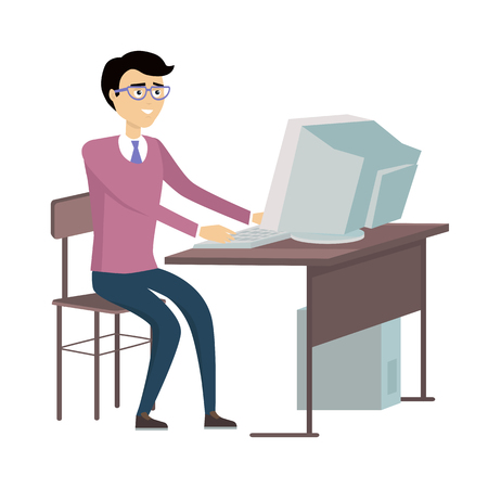 pensive: Man in glasses working with desktop computer. Man in purple sweater and and blue pants sitting at the table with computer. Isolated object in flat design on white background. Vector illustration Illustration