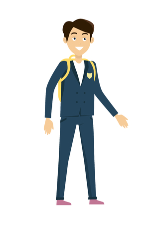 school years: Schoolboy vector illustration in flat design. Smiling pupil boy in school uniform with backpack standing on white background. Children education, school years, students clothes style illustrating.