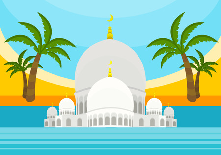United Arab Emirates tourism poster design with attractions. Emirates landmark with flag. Emirates travel poster design in flat. Travel composition with Sheikh Zayed Mosque, palm trees, beach and sea Illustration